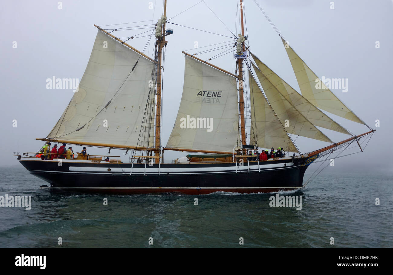 Two masted schooner sails. - Stock Image