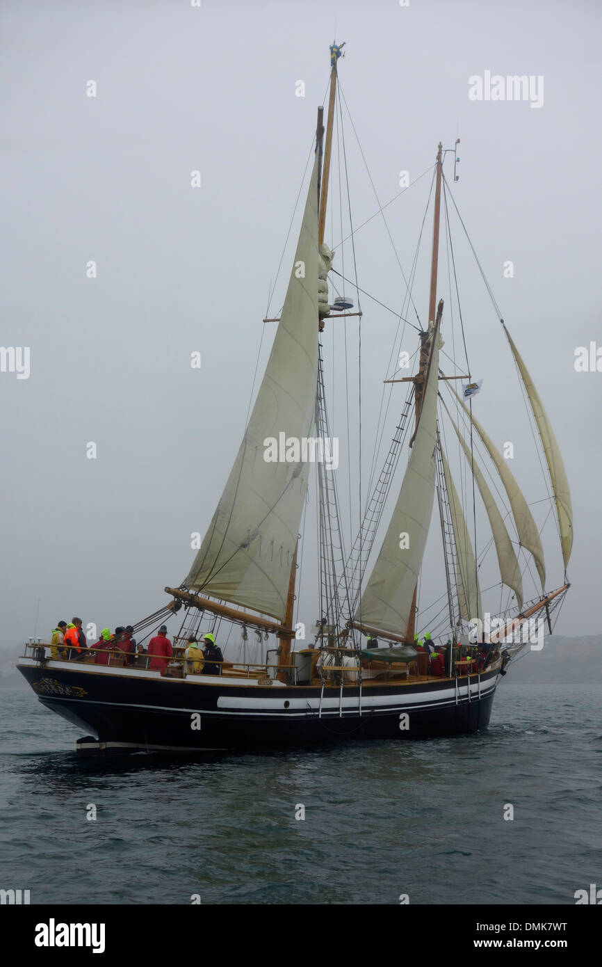 Two masted Schooner with sails on portside tack. - Stock Image