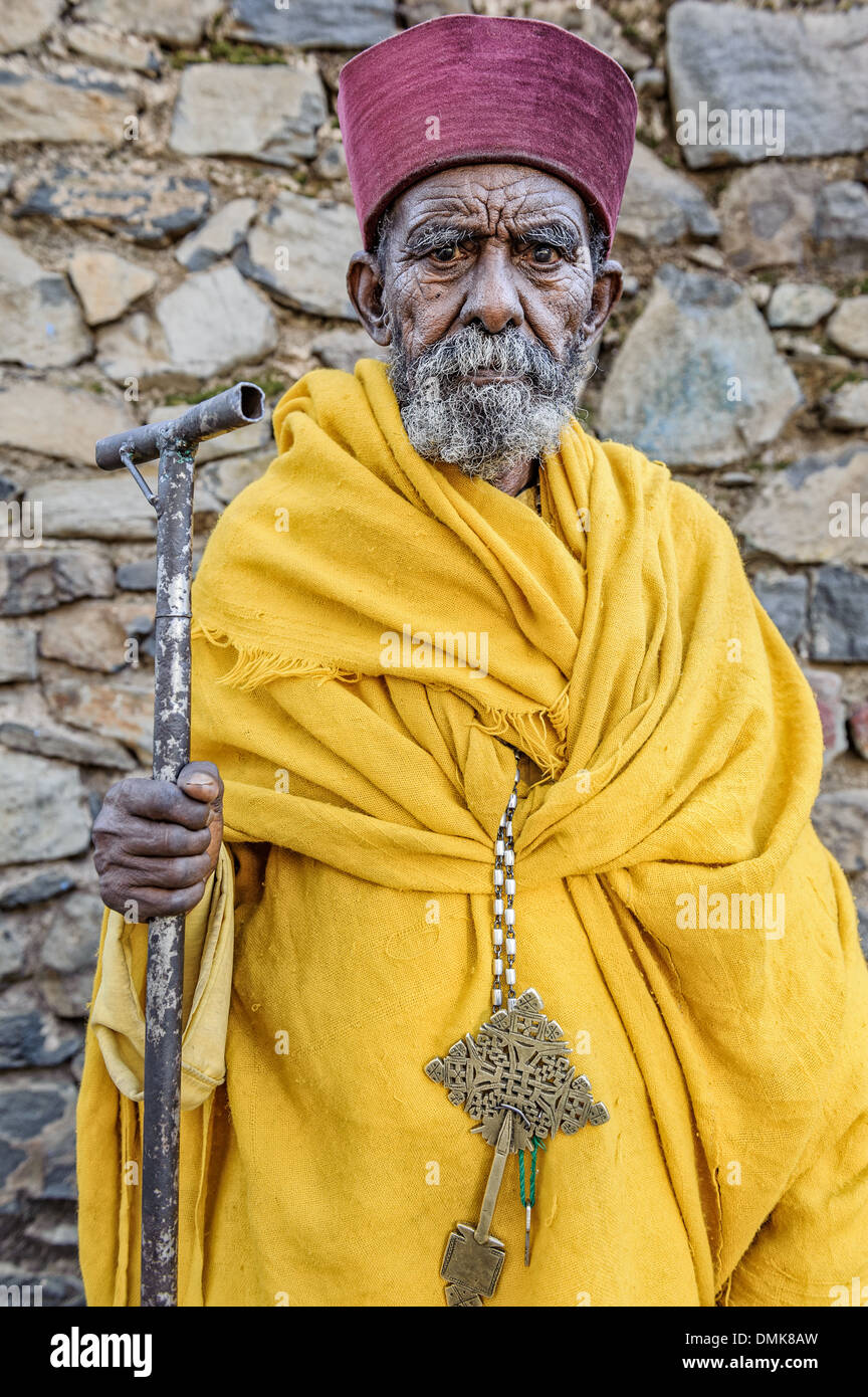 Portrait of an old monk, Gondar, Ethiopia, Africa - Stock Image