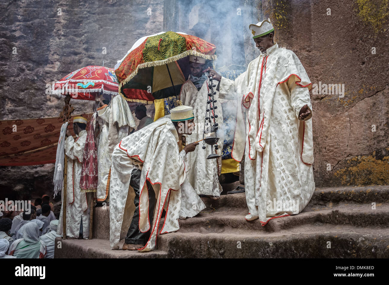 Group of priest celebrating Orthodox Easter, Lalibela, Ethiopia, Africa - Stock Image