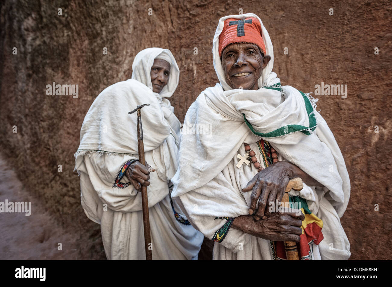 Two women coming back from church, Lalibela, Ethiopia, Africa - Stock Image
