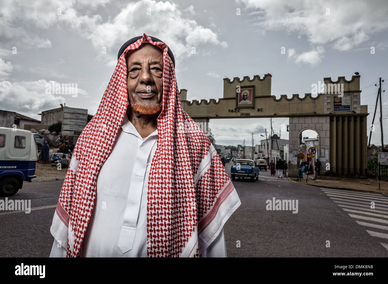 Muslim man wearing traditional arab dress, Harar, Ethiopia, Africa - Stock Image