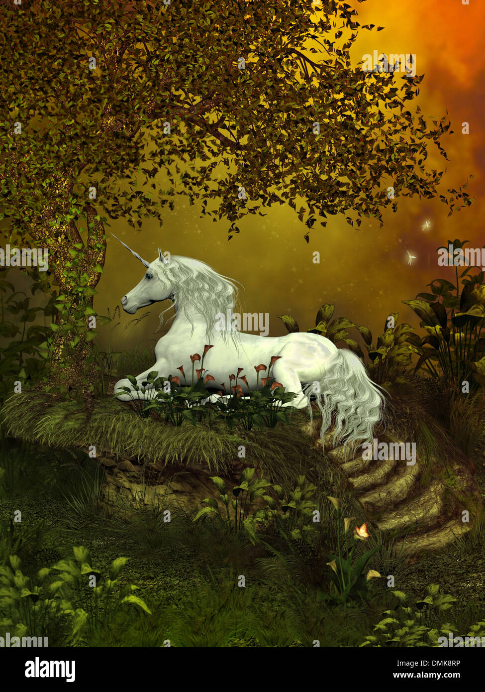 A beautiful white unicorn lays underneath a forest tree to rest among the flowers. - Stock Image