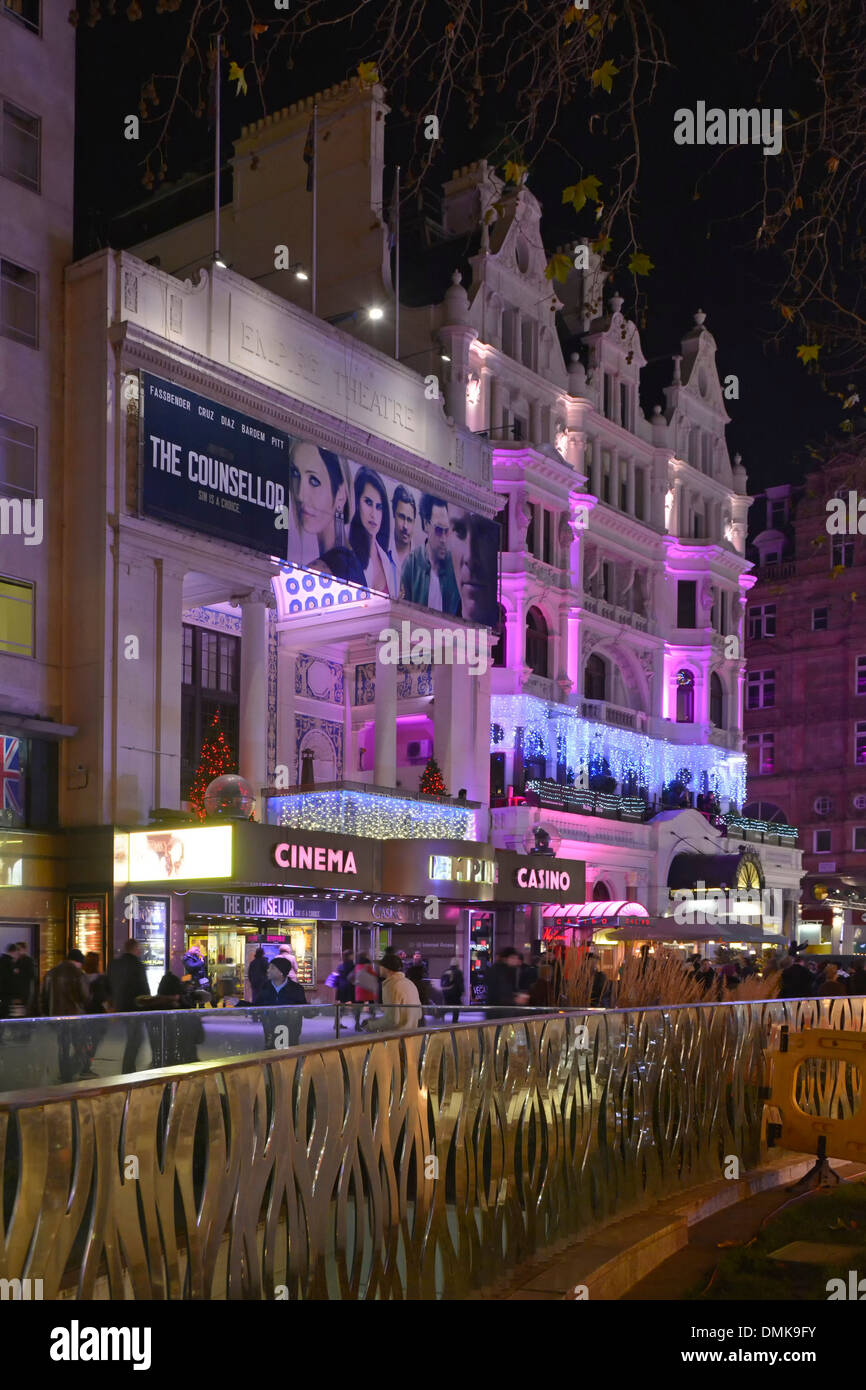 Empire Theatre and Casino in Leicester Square at night - Stock Image