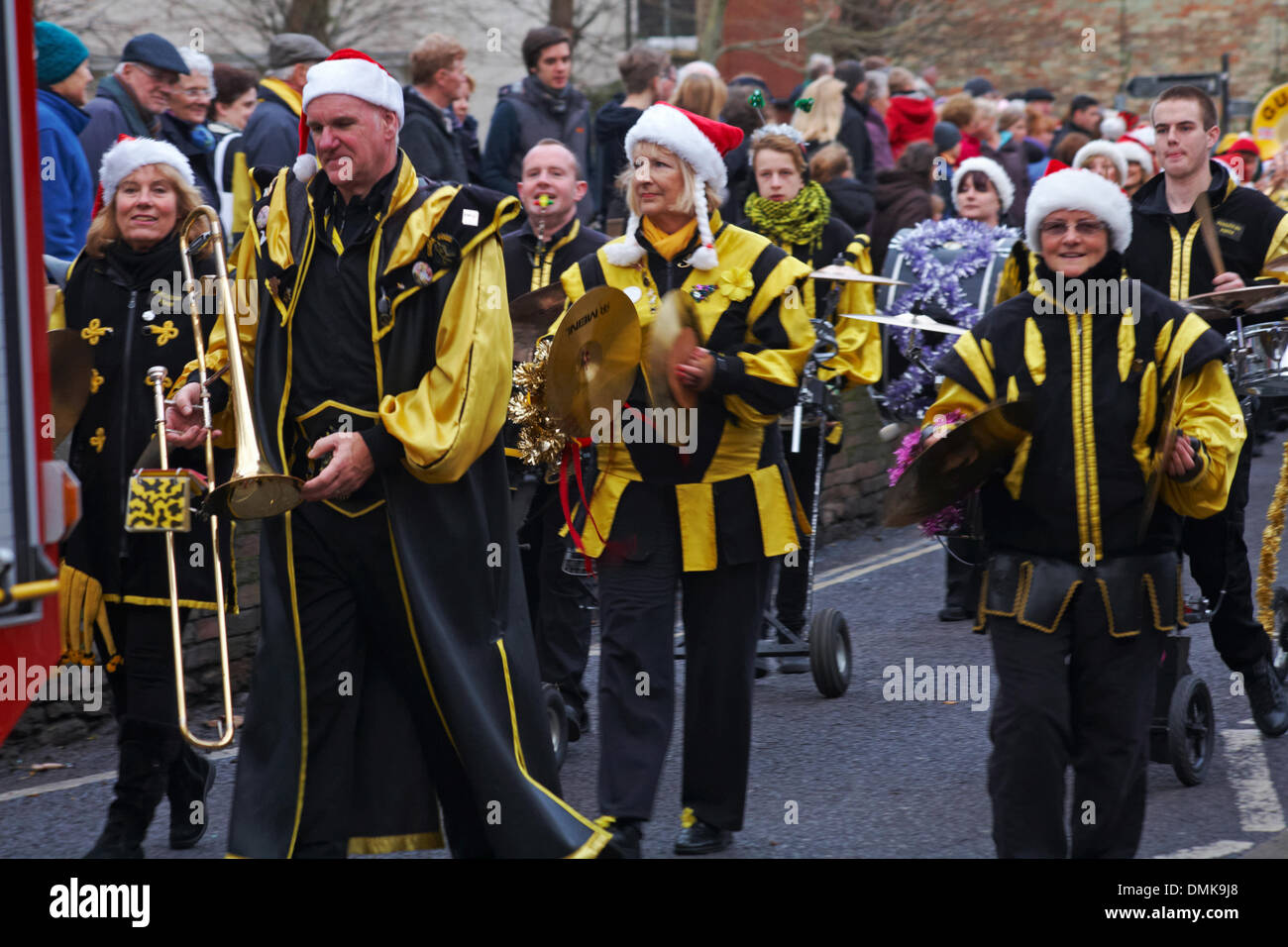 Wimborne, Dorset, UK. 14th December 2013. Crowds turn out to watch the 25th Wimborne Save The Children Christmas Parade. Gugge 2000, Gugge2000, Swiss style guggemusik band. Credit:  Carolyn Jenkins/Alamy Live News Stock Photo