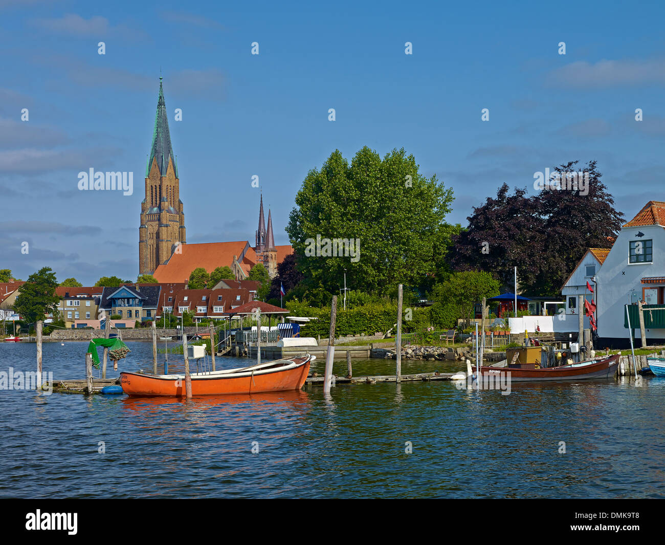 The Schlei with St. Peter Cathedral in Schleswig, Schleswig-Flensburg District , Schleswig-Holstein, Germany - Stock Image