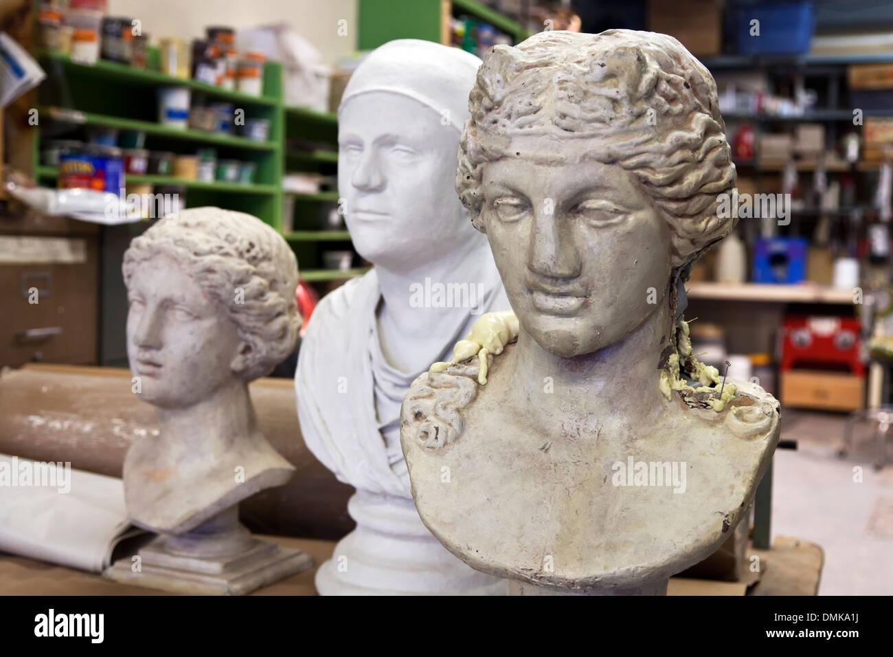 Busts, prop shop, Santa Fe Opera, Santa Fe, New Mexico USA - Stock Image