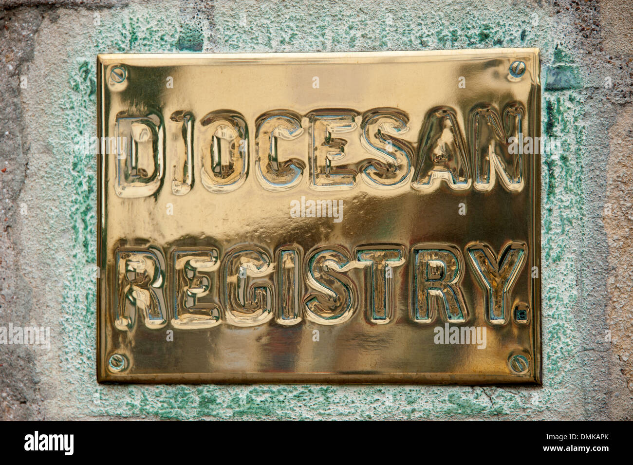 Brass Plaque Sign Diocesan Registry Diocese Stock Photo