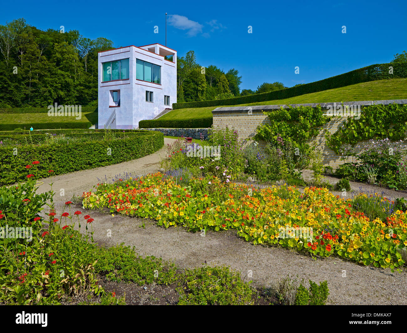 Baroque garden with Globe House in Schleswig, Schleswig-Flensburg District, Schleswig-Holstein, Germany - Stock Image