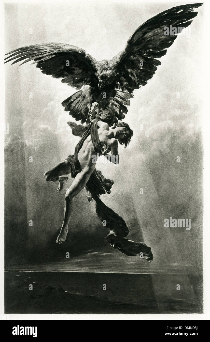 According to some versions of the myth, Zeus turned himself into an eagle and abducted Ganymede. - Stock Image