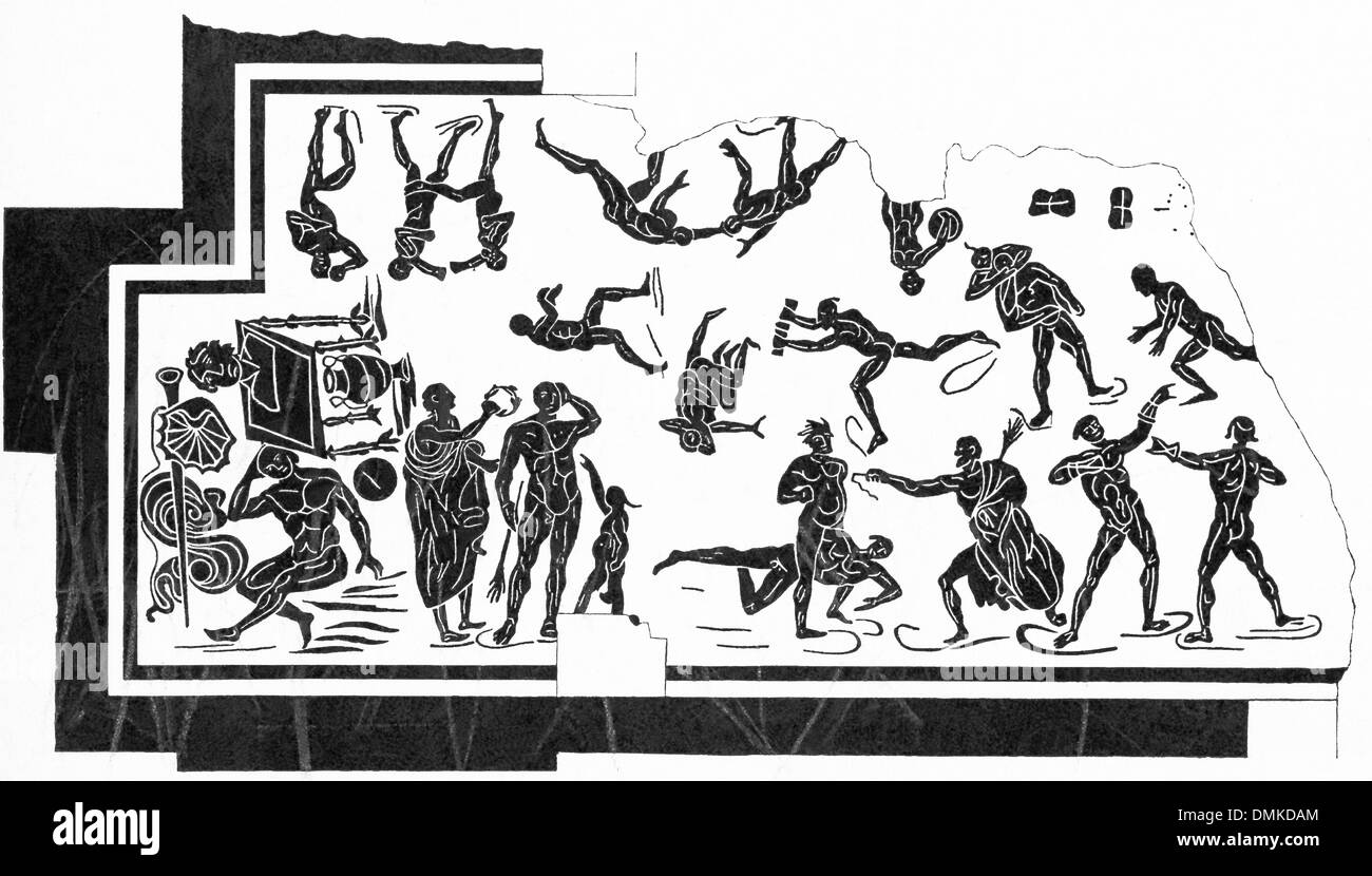 The scene, uncovered at Tusculum, a Roman city in the Alban Hills, takes place inside a palaestra at Rome. - Stock Image