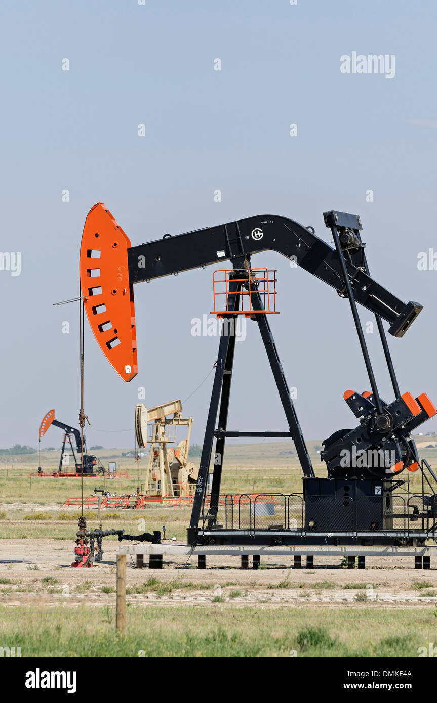 Oilpatch pumpjacks pump crude oil from an oilfield near Shaunavon, Saskatchewan, Canada - Stock Image