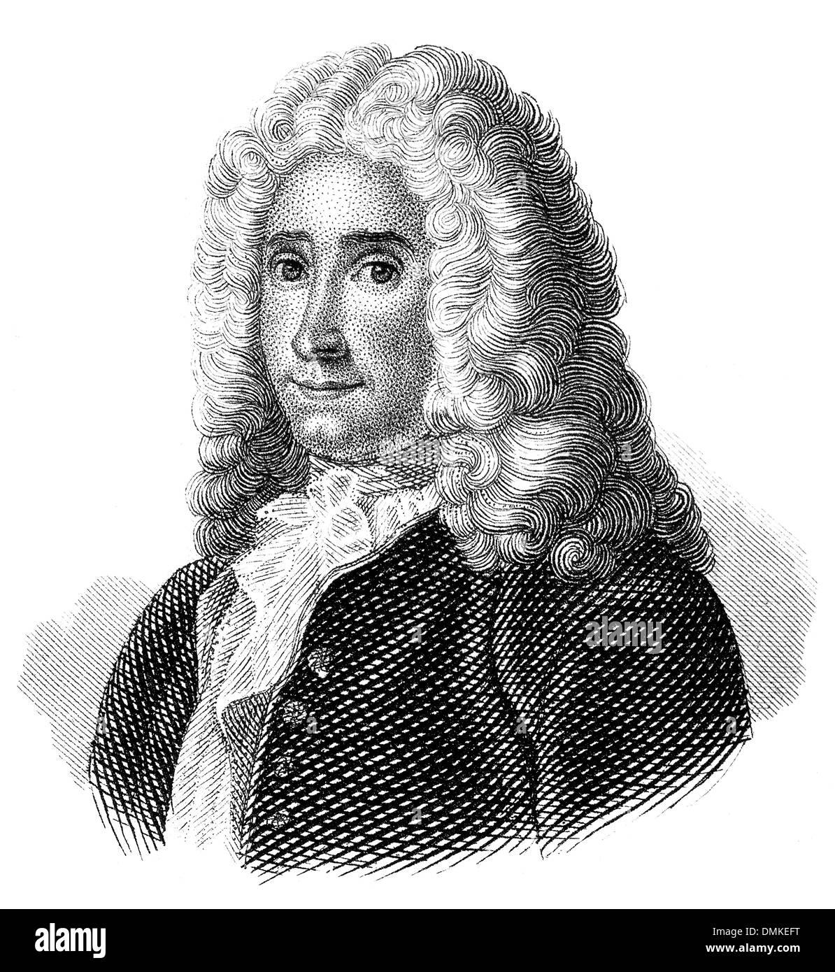 René Antoine Ferchault de Réaumur, 1683 - 1757, French scientist, - Stock Image