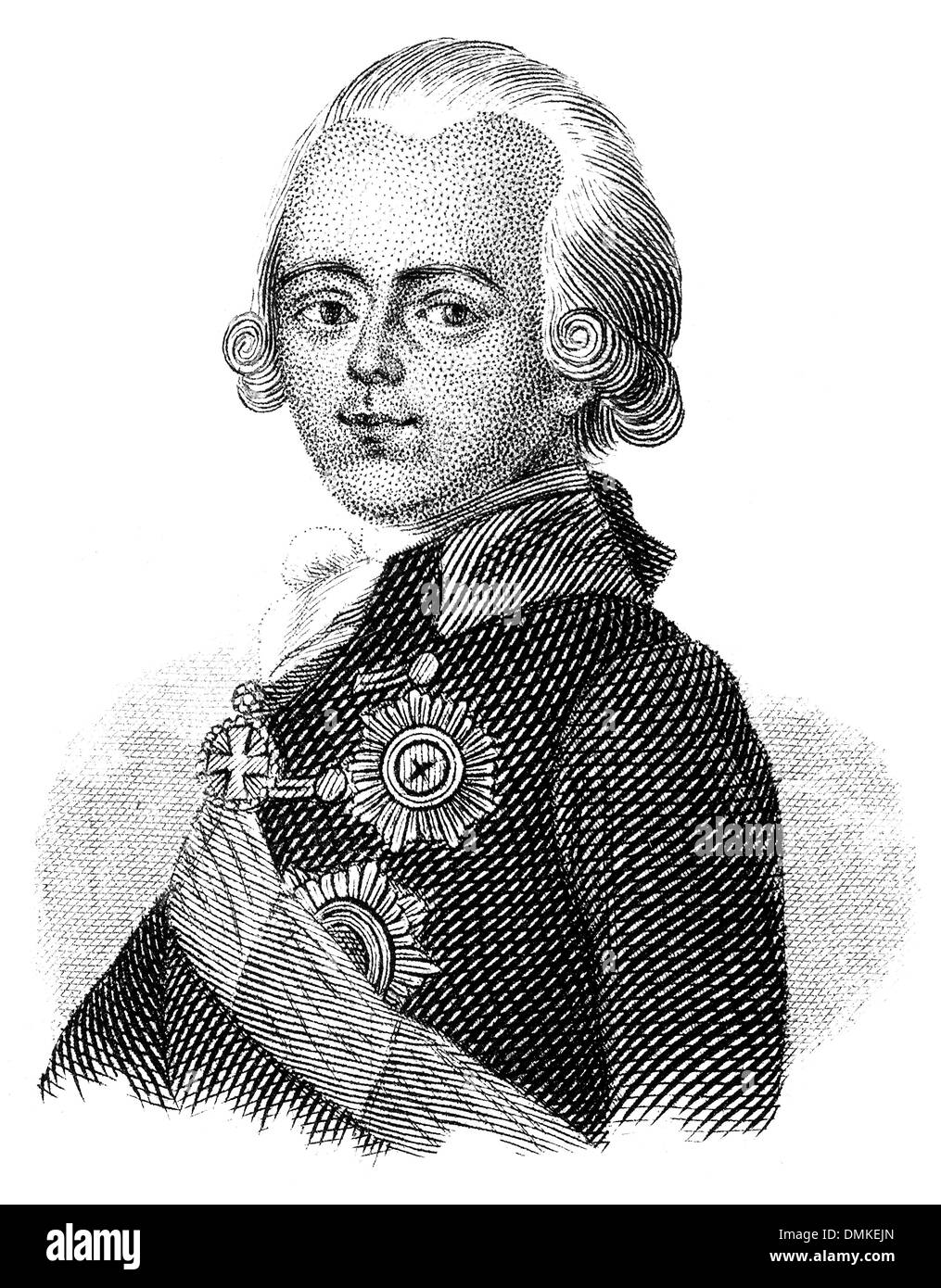 portrait of Paul I or Pavel Petrovich, 1754 - 1801, Emperor of Russia - Stock Image