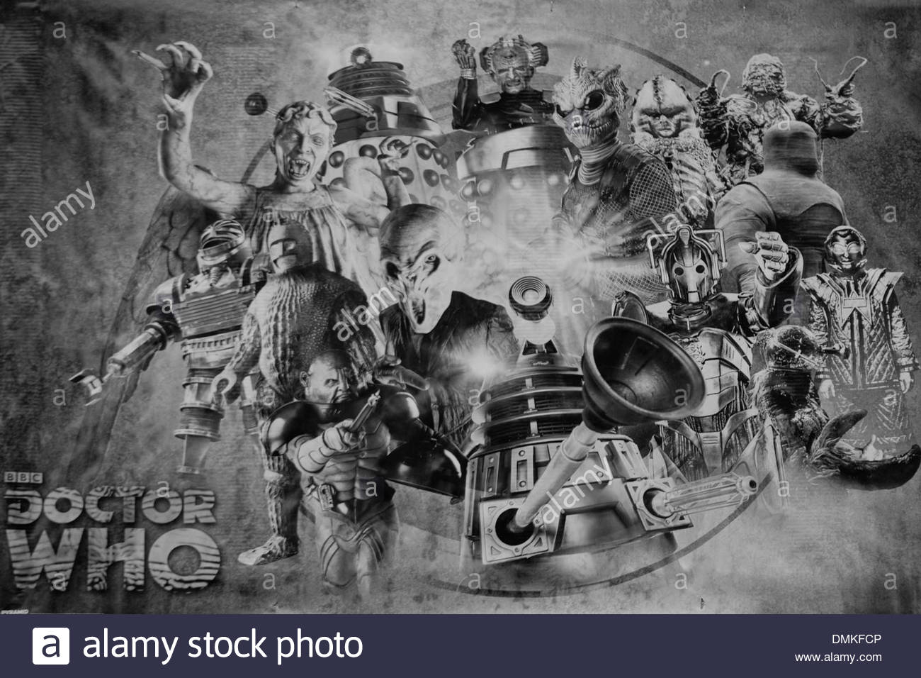 Aliens and monsters from the cult TV programme Doctor Who Poster Black and White - Stock Image