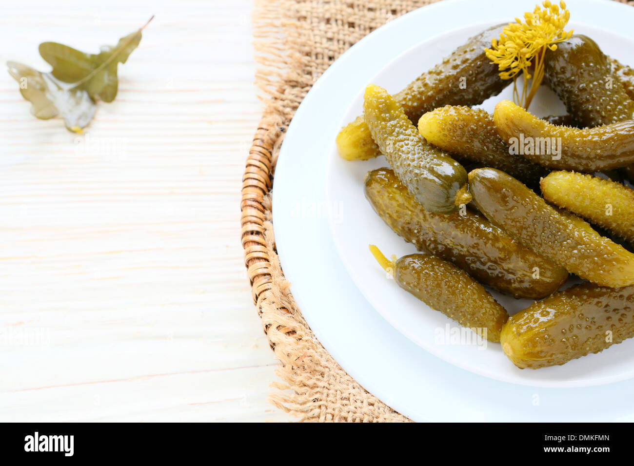 small pickled cucumbers, food - Stock Image
