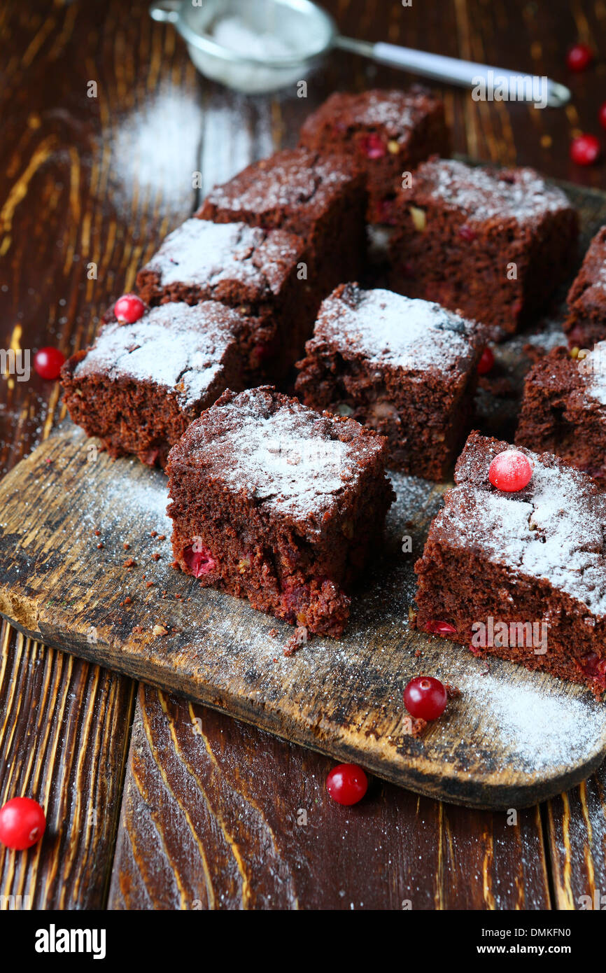 brownie slices with cranberries, food closeup - Stock Image