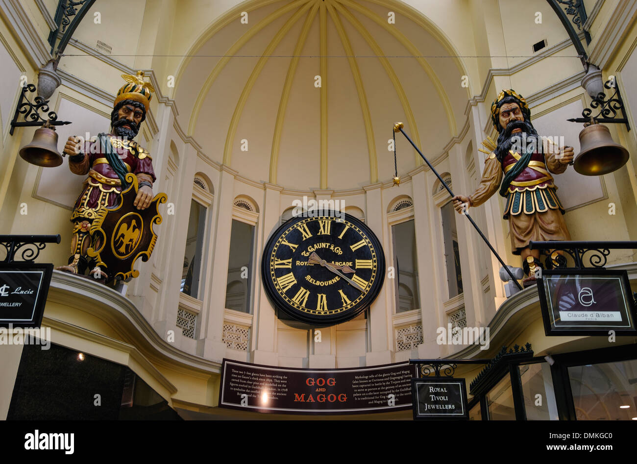 Statues of the mythical characters Gog and Magog in the Royal Arcade, Melbourne, Australia. - Stock Image