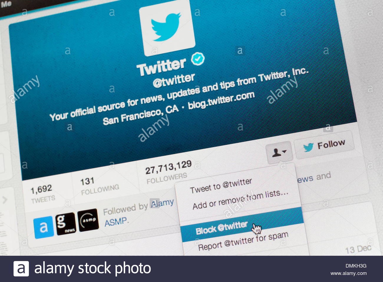 """Thursday 12 December 2013: Twitter introduced, and later in the day withdrew, a change to its """"blocking"""" policy Stock Photo"""