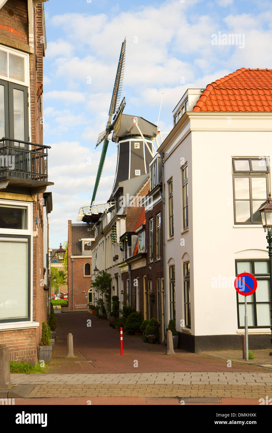 Adriaan windmill over street, Haarlem - Stock Image