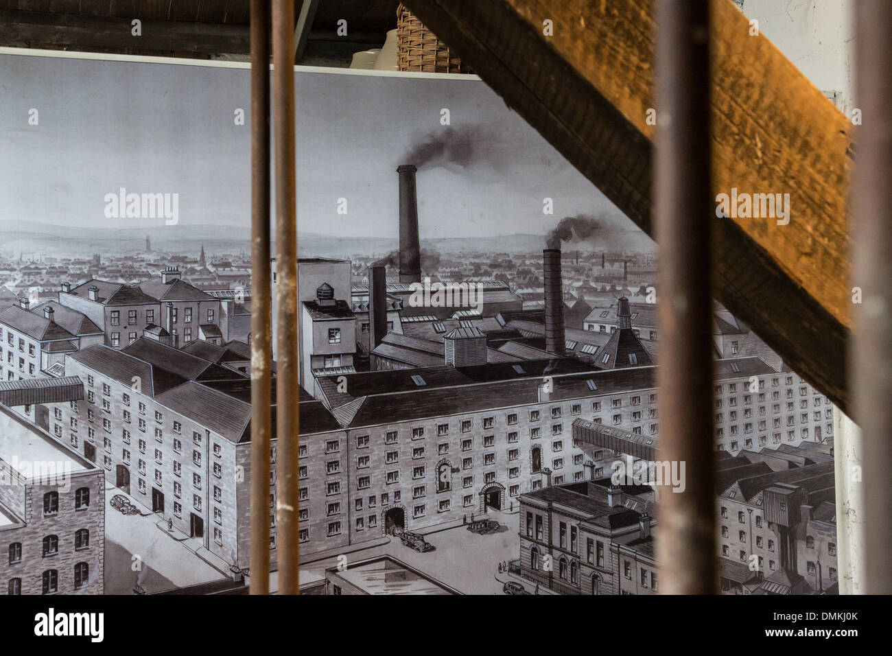 PERIOD MAP OF THE FACTORY, THE OLD JAMESON DISTILLERY, THE OLD WHISKEY DISTILLERY, BOW STREET, DUBLIN, IRELAND - Stock Image