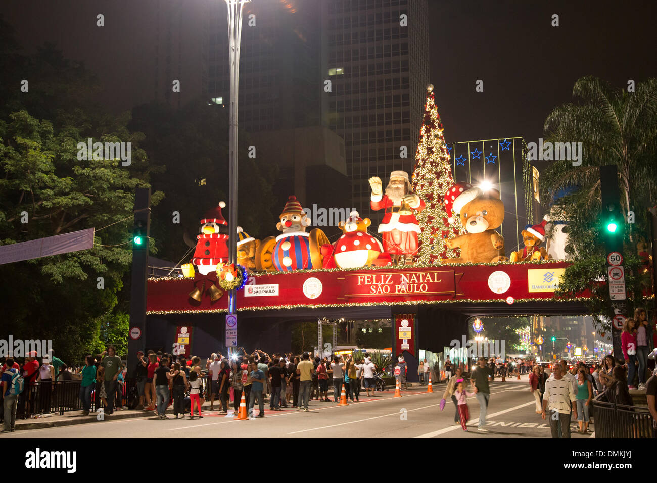sao paulo brazil 14th dec 2013 on stage christmas decoration is stock photo 64356198 alamy. Black Bedroom Furniture Sets. Home Design Ideas
