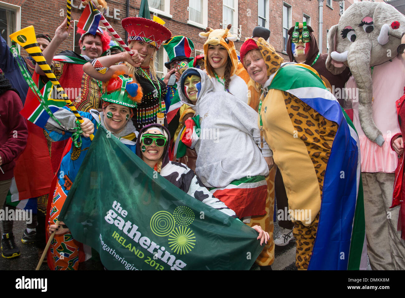 GROUP OF SOUTH AFRICANS PARTICIPATING IN THE GATHERING 2013, SAINT PATRICK'S DAY, DUBLIN, IRELAND - Stock Image