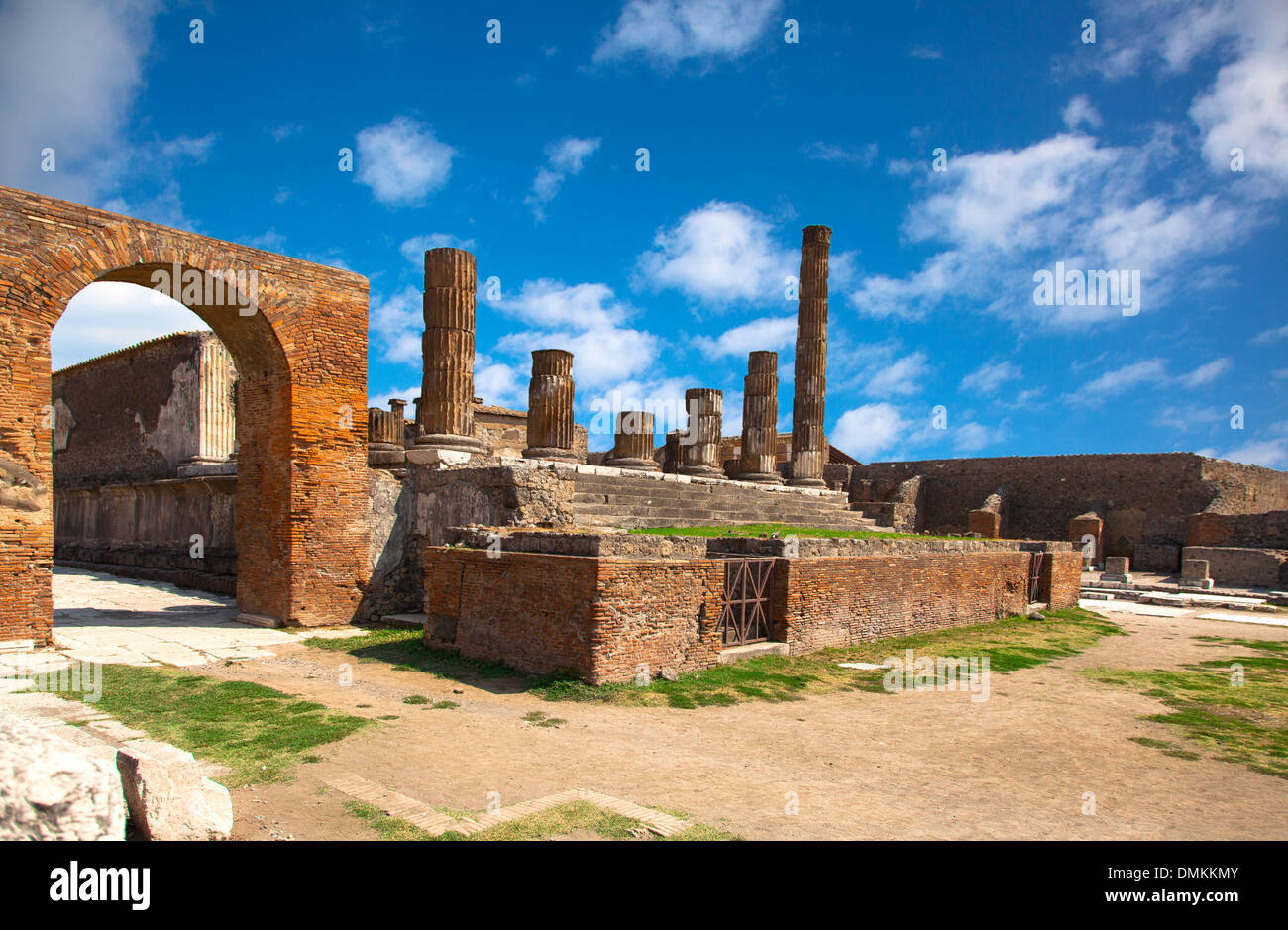 ancient Roman city of Pompeii, which was destroyed and buried by ash during the eruption of Mount Vesuvius in 79 Stock Photo