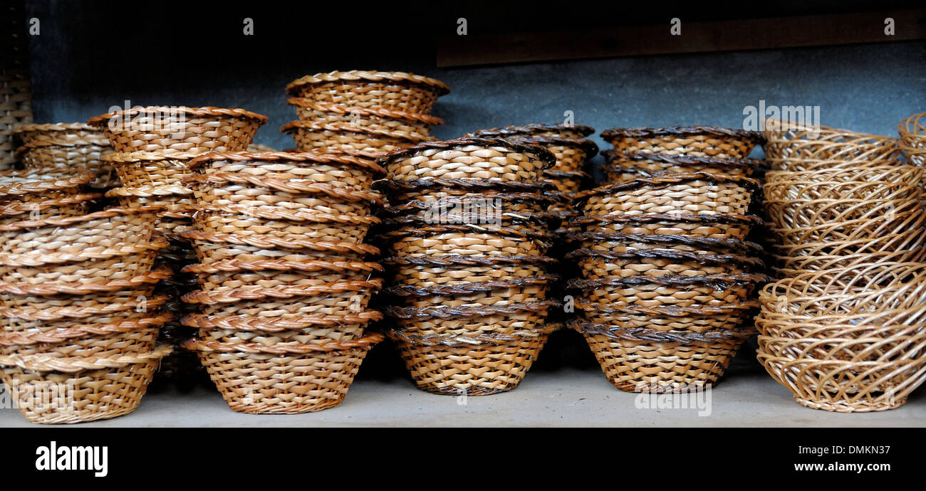 Madeira Portugal. Wicker basket souvenirs in a wicker factory shop in Camacha - Stock Image