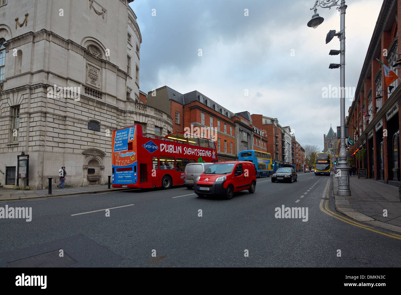 Dublin sightseeing bus, Lord Edward Street, Dublin, Ireland, Europe - Stock Image