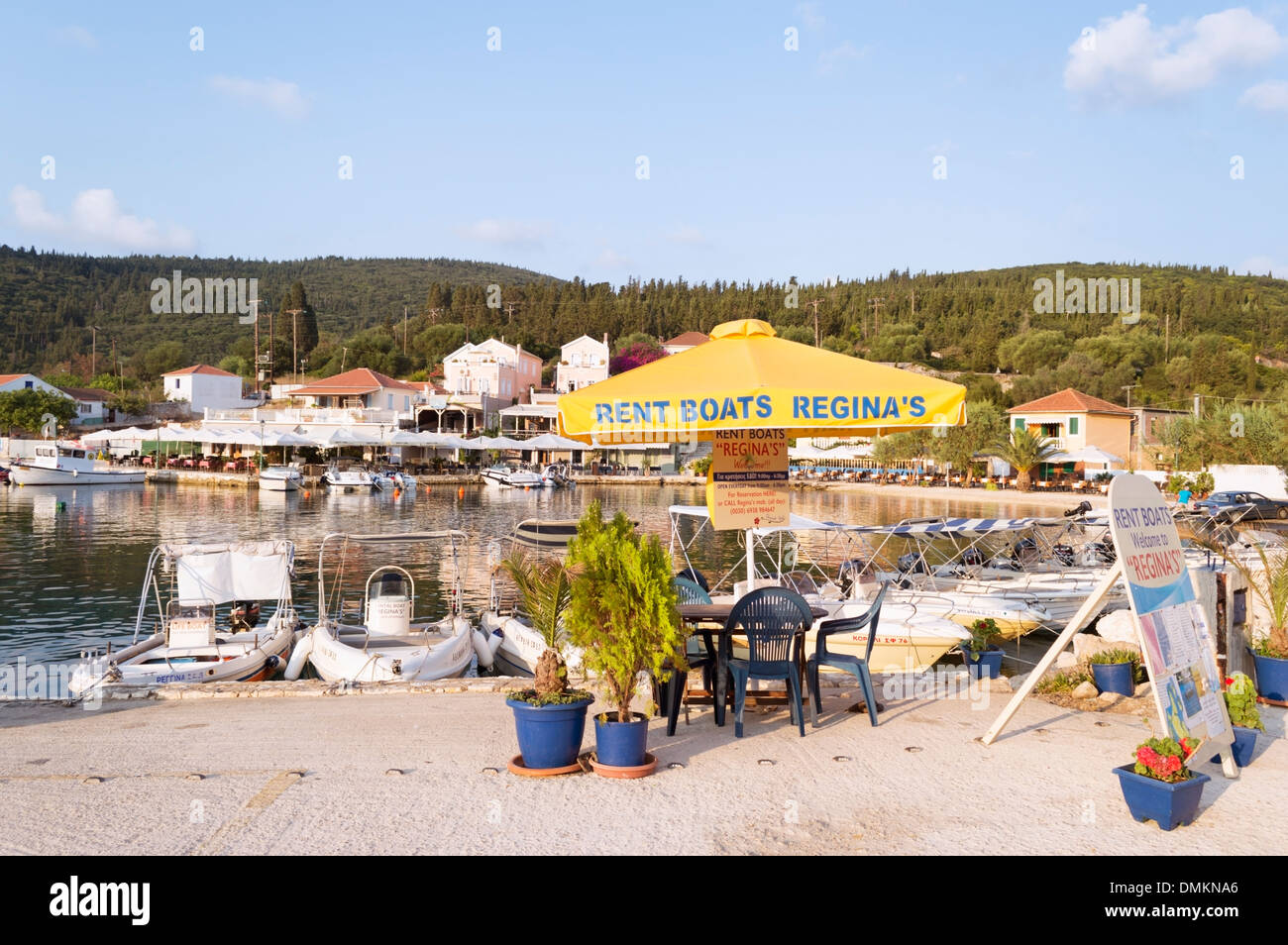 Kefalonia Greece: pleasure boats for hire at Fiskardo - a fishing village in the north of the island - Stock Image