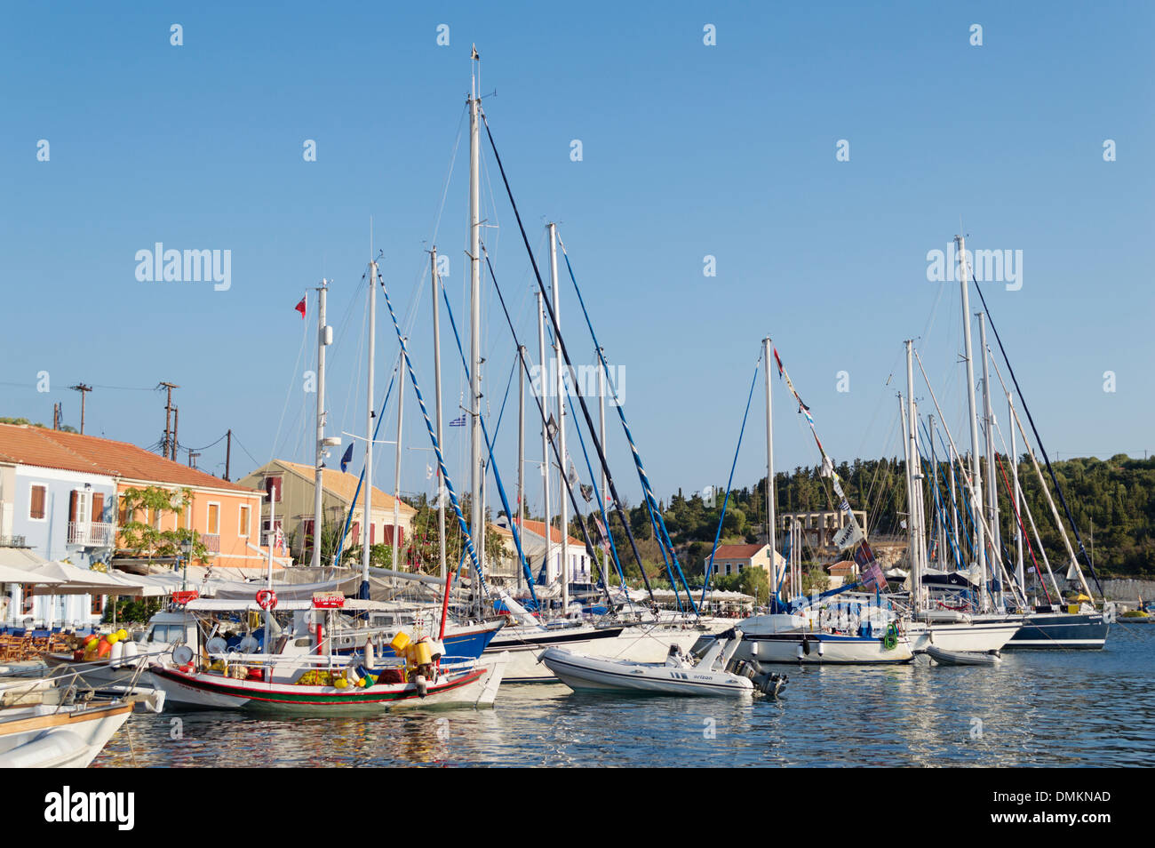 Kefalonia Greece: sailing yachts in the harbour at Fiskardo - a fishing village in the north of the island - Stock Image