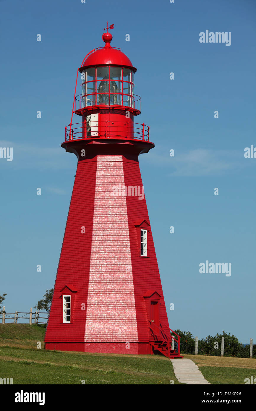 La Martre Lighthouse and museum in The Gaspe Peninsula, Quebec, Canada. - Stock Image