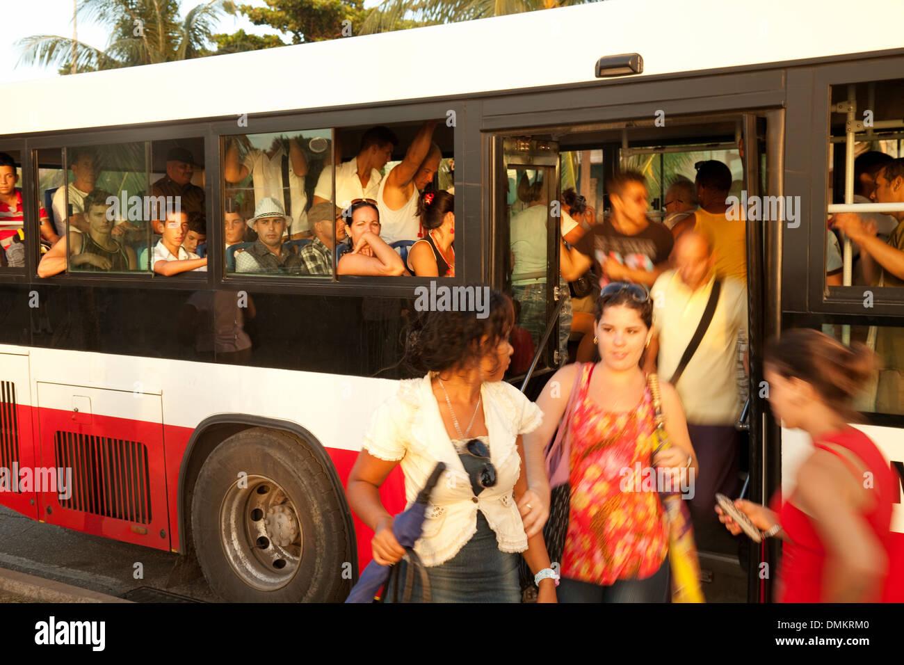 Local cuban people on a bus - example of public transport, Cienfuegos, Cuba, caribbean - Stock Image