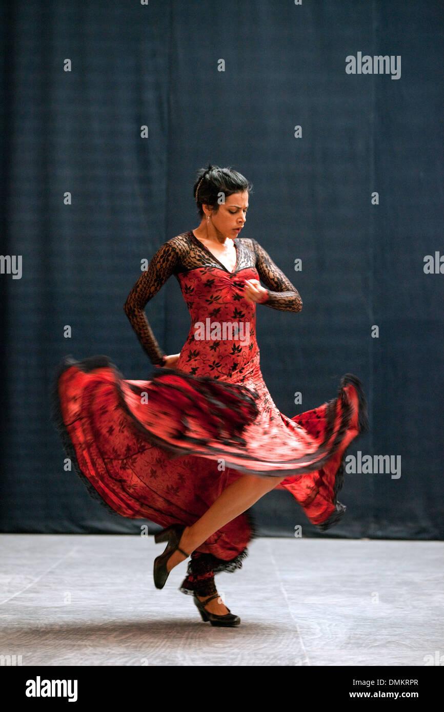 Flamenco dancer dancing, Ballet Espanol de Cuba, Havana Cuba, Latin America - Stock Image