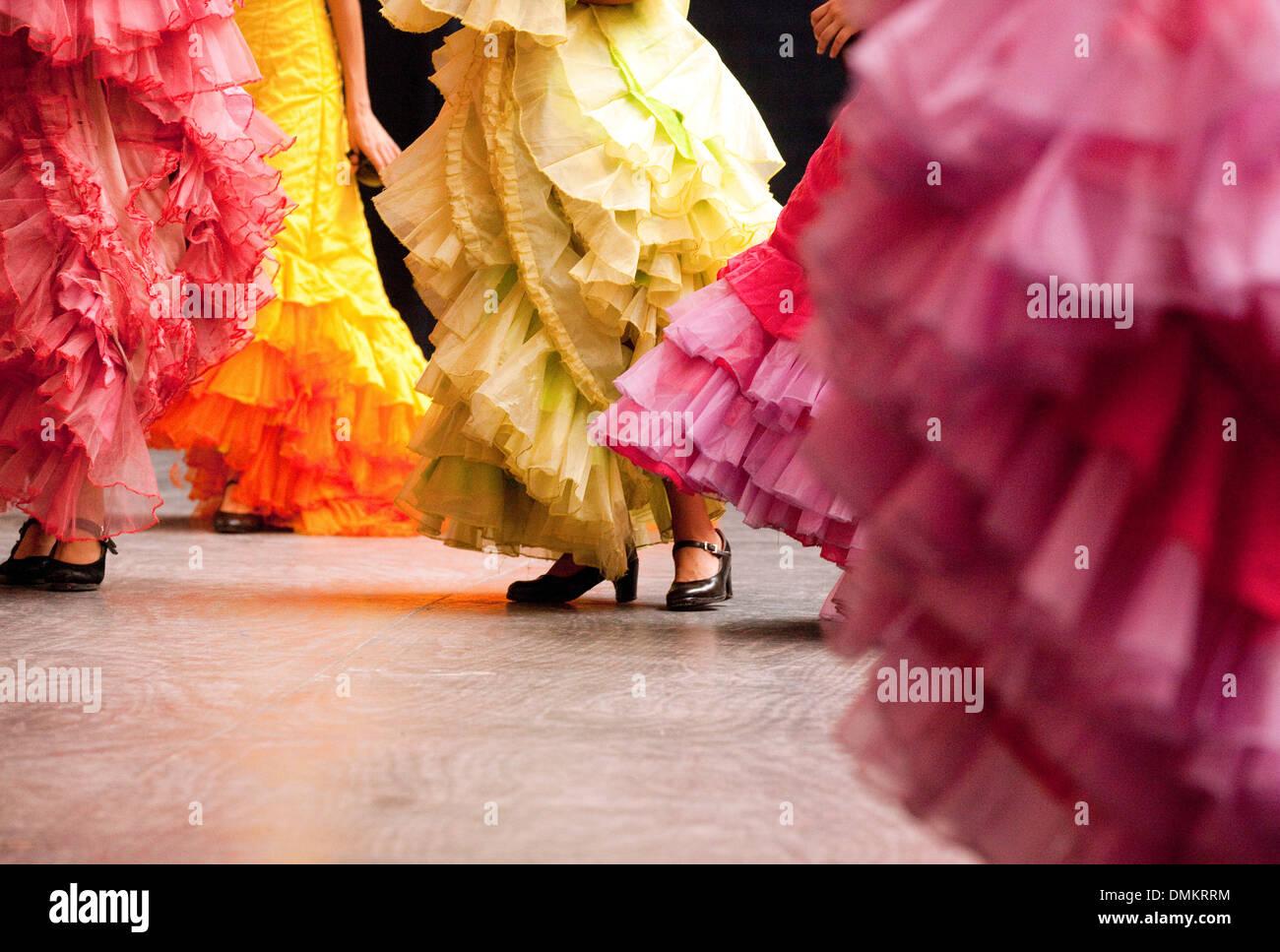Flamenco dancing, colourful dresses and dancers, Havana Cuba Latin america - Stock Image