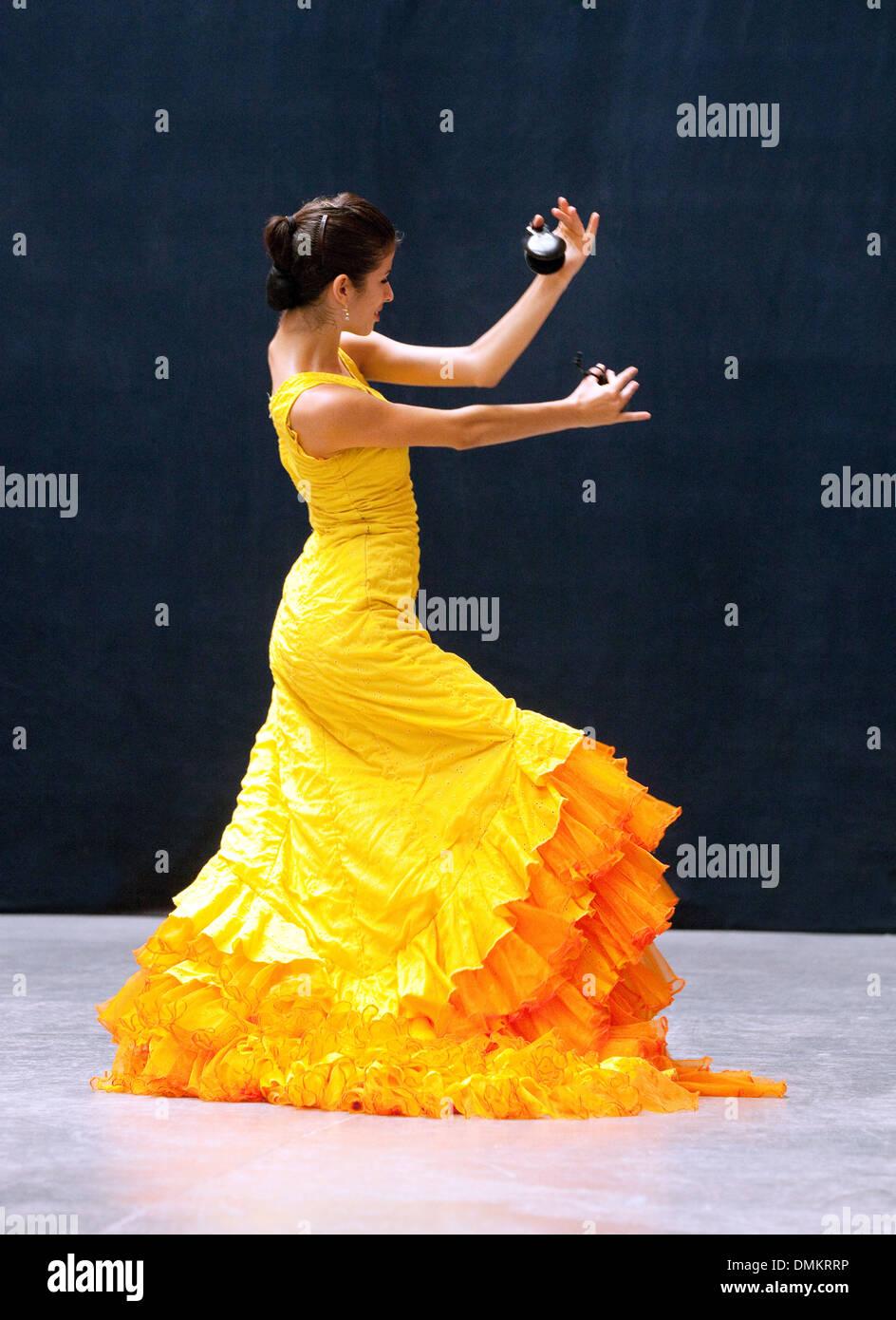 Flamenco dancers dancing, Ballet Espanol de Cuba, Havana, Cuba, Caribbean - Stock Image