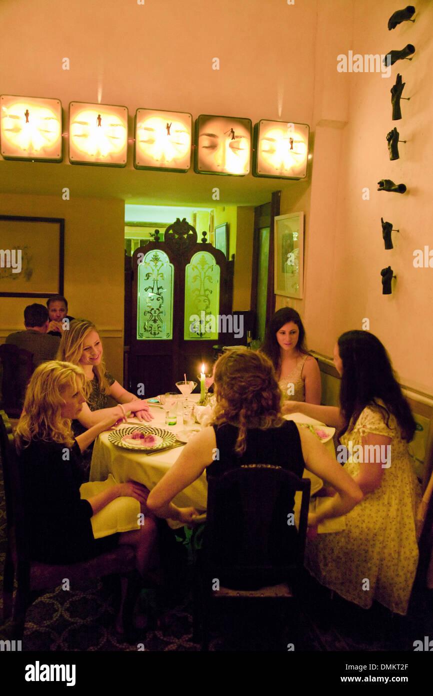 Women having a meal in the La Guarida restaurant, Havana, Cuba, Caribbean - Stock Image