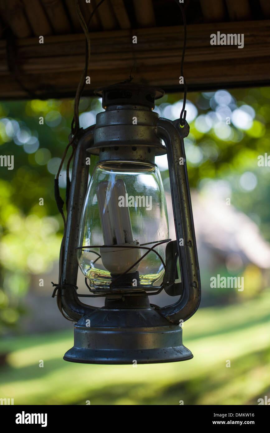 Kerosene lamp, refurbished to electric, Ethiopia - Stock Image