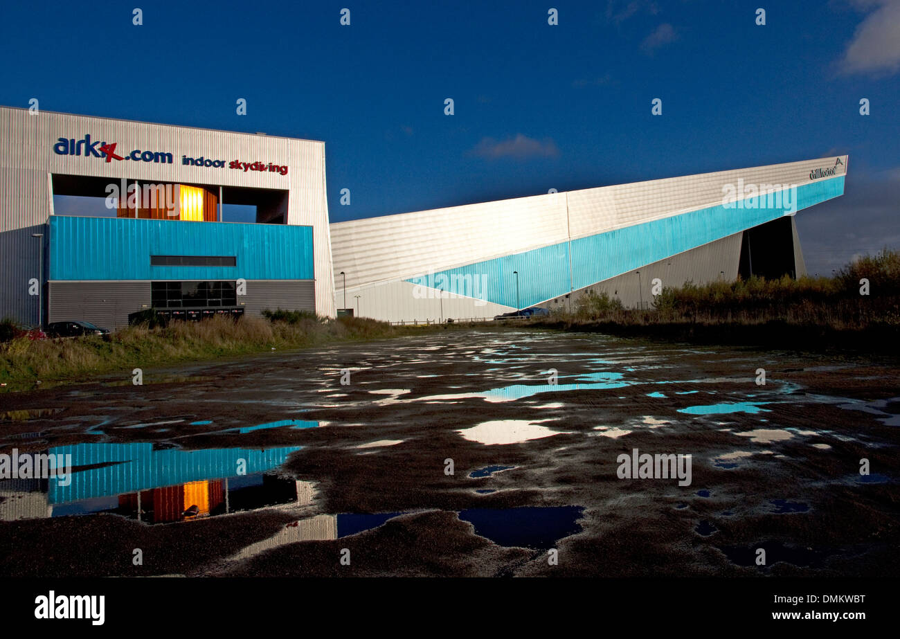 The Chill Factor ( Factore).( Indoor skiing etc) and  Airkix indoor skydiving centre, Trafford, Manchester, England, UK - Stock Image