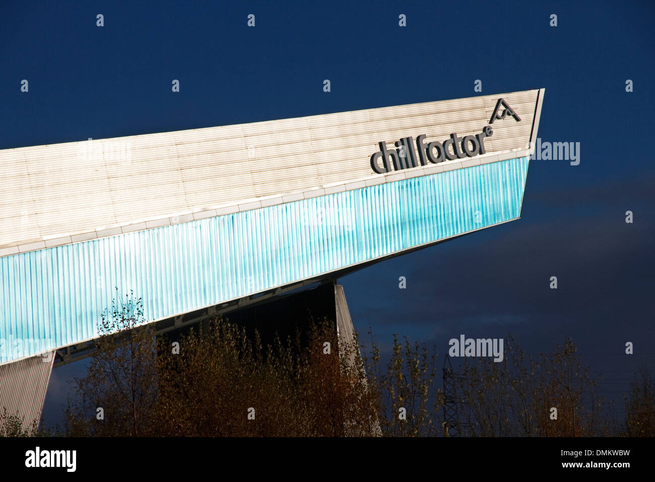 The Chill Factor ( Factore). Indoor skiing, snowboarding and snow activities centre. Trafford, Manchester, England, UK - Stock Image