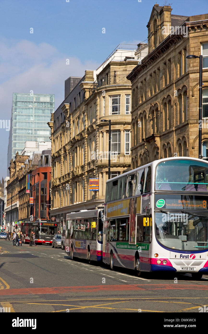 Deansgate (One Deansgate apartment block beyond), city centre, Manchester, UK - Stock Image