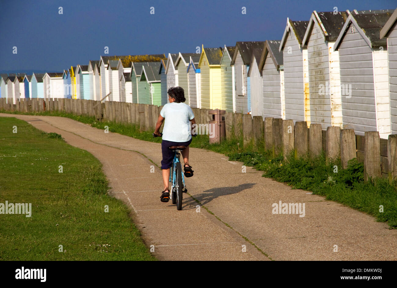 Cyclist passing beach huts on coastal cycle route(part of National Route 2) Lancing, West Sussex,UK. Lancing Beach Green on left - Stock Image