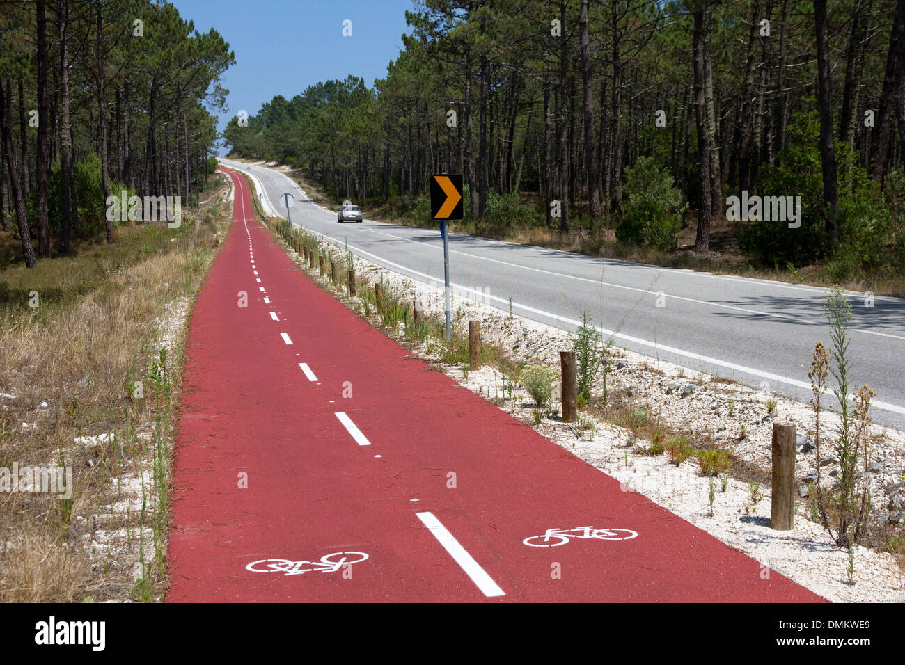 24km cycle track alongside Atlantic Road through Mata Nacional do Urso, north of Praia de Pedrógão , Silver Coast, Stock Photo