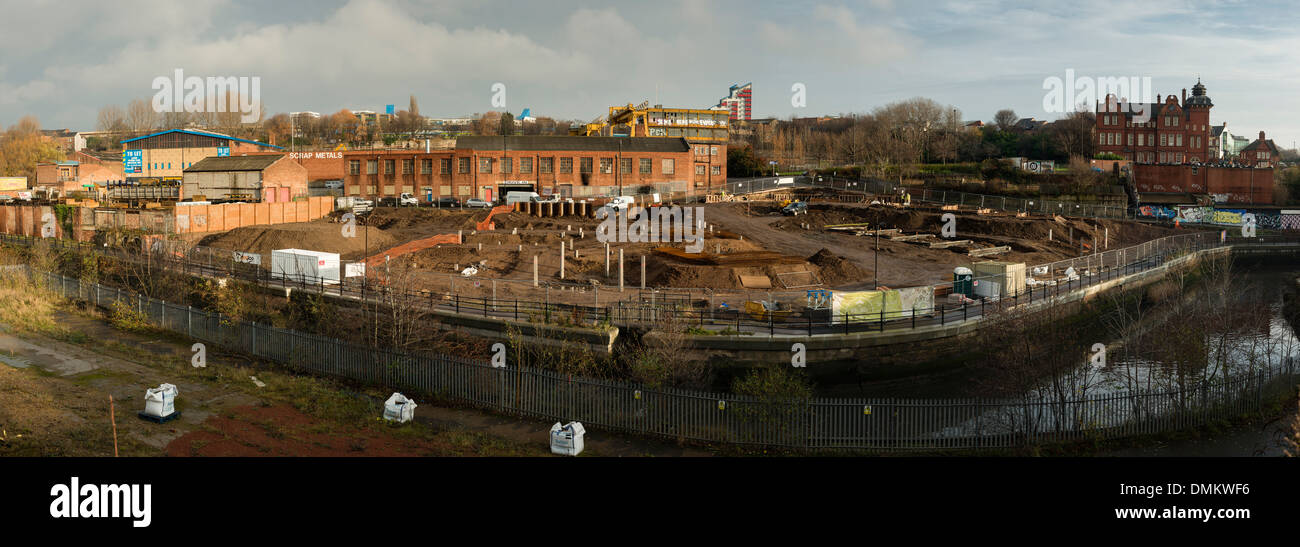 Inner city regeneration underway on the banks of the Ouseburn in Newcastle-upon-Tyne - Stock Image