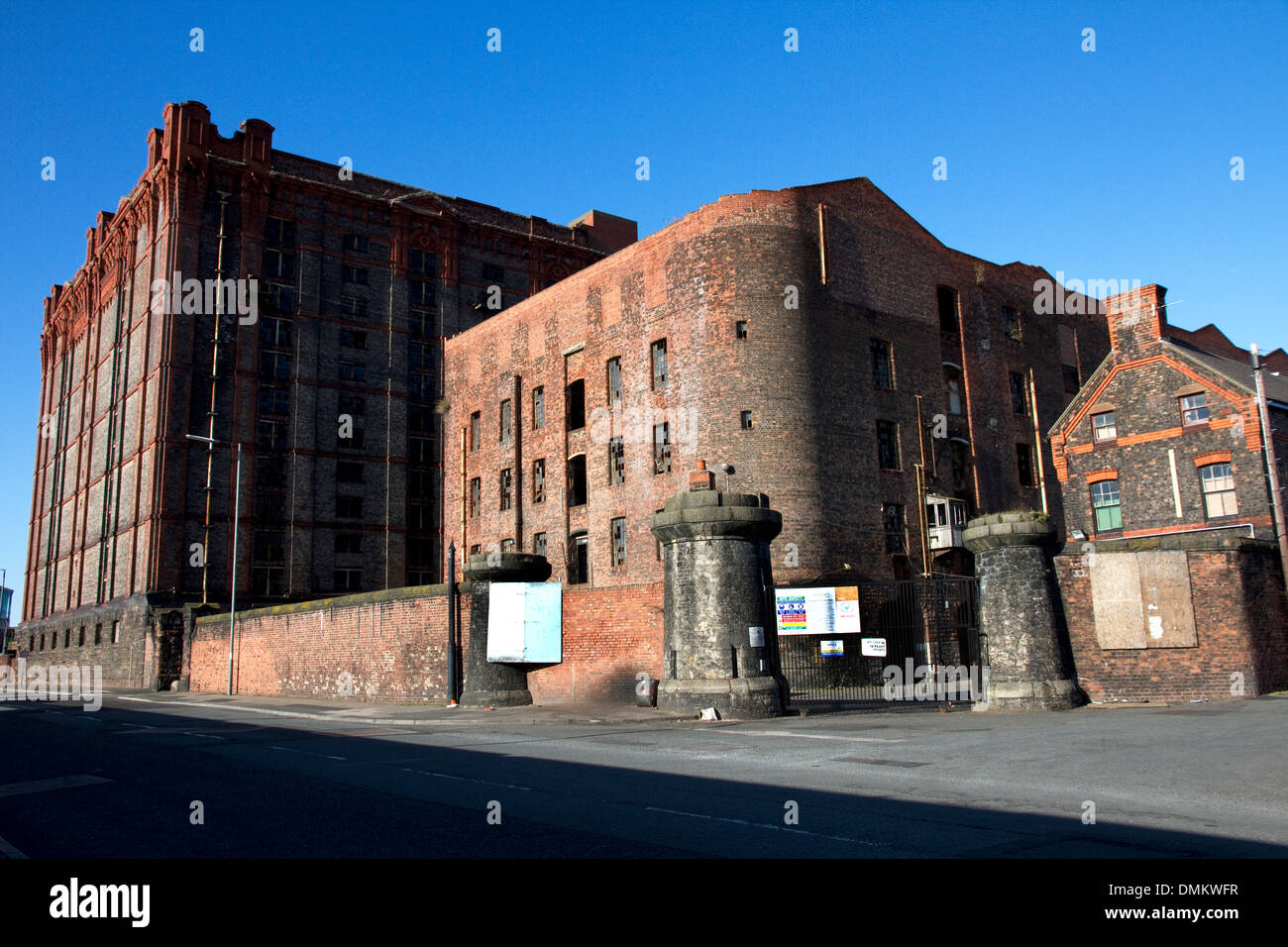 South Warehouse (1852-55) and Stanley Dock Tobacco Warehouse (1901) (left), Regent Road, Liverpool, Merseyside, Stock Photo