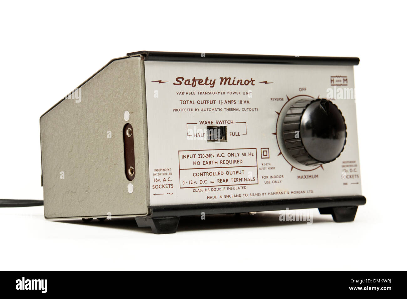 Vintage 'Safety Minor' model railway controller by Hammant & Morgan Ltd (Hamden Works, Watford, England) - Stock Image