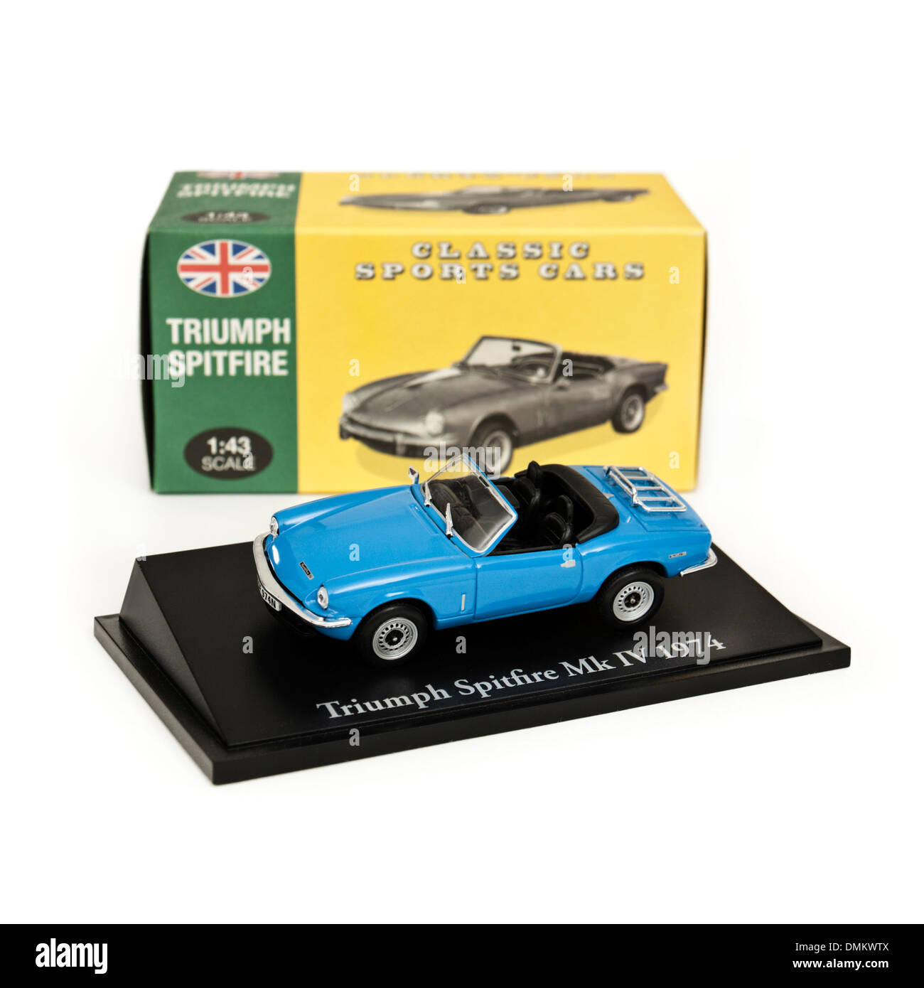 1:43 scale replica of the 1974 Triumph Spitfire Mk IV convertible sports car by Atlas Editions - Stock Image