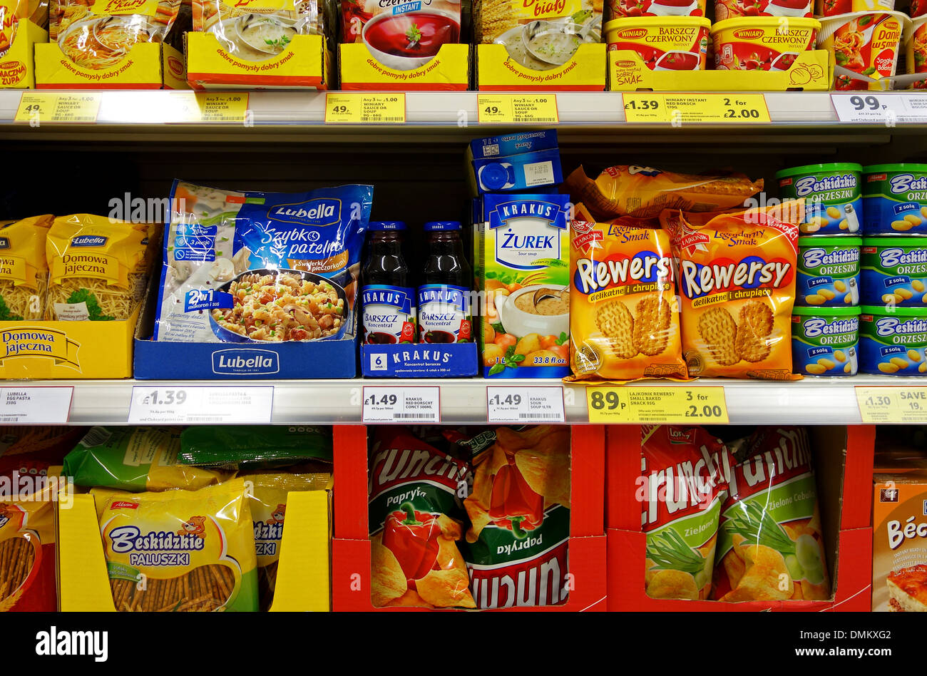 Polish food on sale in a uk tesco supermarket - Stock Image