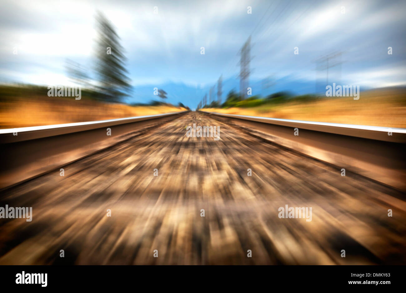 A high speed view between railway lines. - Stock Image